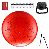 Steel Tongue Drum, Upgraded Panda Drum steel 11 Notes 10 inches Musical Drum Percussion Instrument Professional Steel Drum C-Key for Beginner Adult Kids Red