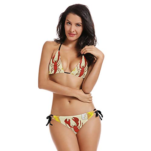 AIMILUX Bikini zum Schnüren,Bier Krebs Hintergrund Wallpaper Nahtlose Skizze,Frauen Badeanzug Low Rise Skinny(S)