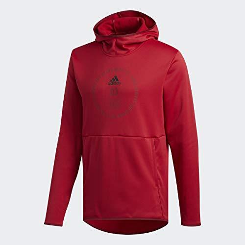 adidas Men's Team Issue Badge of Sport Hoodie, Active Maroon/Black, Large