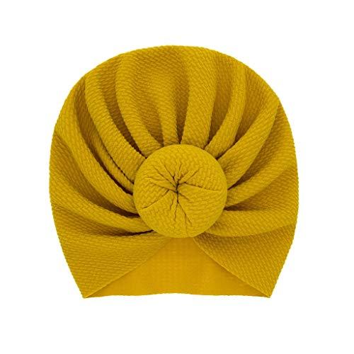 LABIUO 12 Couleurs Style Indien Noeuds Bonnet Bébé, Mode Chapeau Bandeau Turban Noeud Mou Tête Wraps pour Bébé Filles Bonnet Nouveau-Né Tout-Petits pour 0-2 Ans(Jaune,Taille Unique)