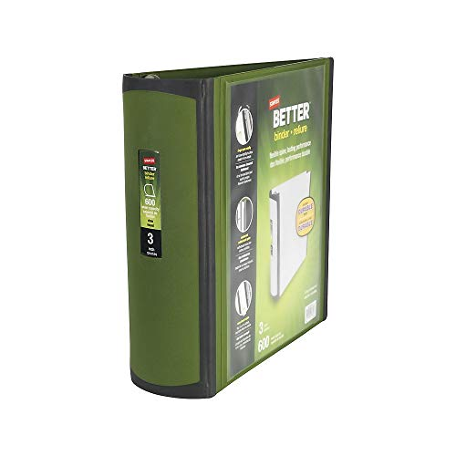 STAPLES 399966 Better 3-Inch D 3-Ring View Binder Olive (22173-US)