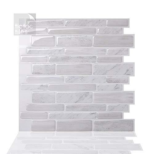 Tic Tac Tiles 30cm x 30cm 10 Stück 3D Fliesenaufkleber Wandfliesen für Küche/Bad - Polito Weiß