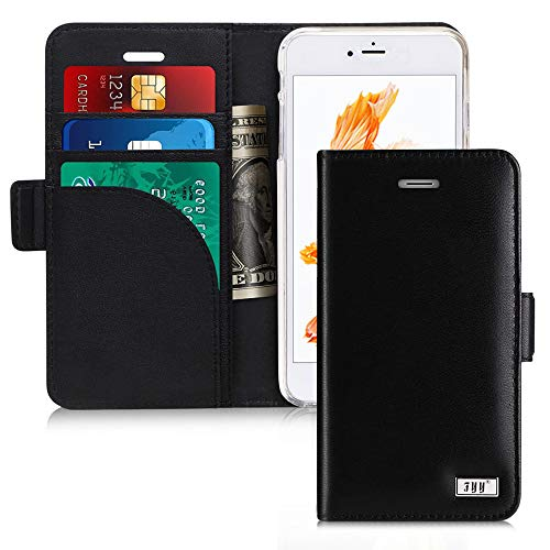 "FYY Genuine Leather Case for iPhone 8/iPhone 7/iPhone SE (2nd) 2020 4.7"" [RFID Blocking] [Kickstand] Flip Folio Wallet Case with Card Slots for Apple iPhone 8 2017/7 2016/SE(2nd) 2020 4.7"" Black"
