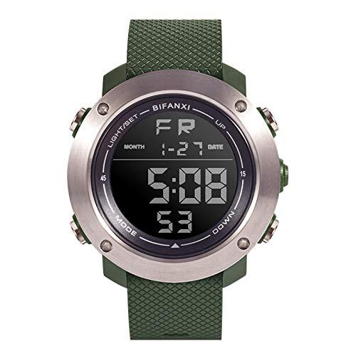 YLH Deportes Reloj Electrónico Hombres 3D Relojes Multifunción Moda Cuarzo Impermeable (Color : Green)