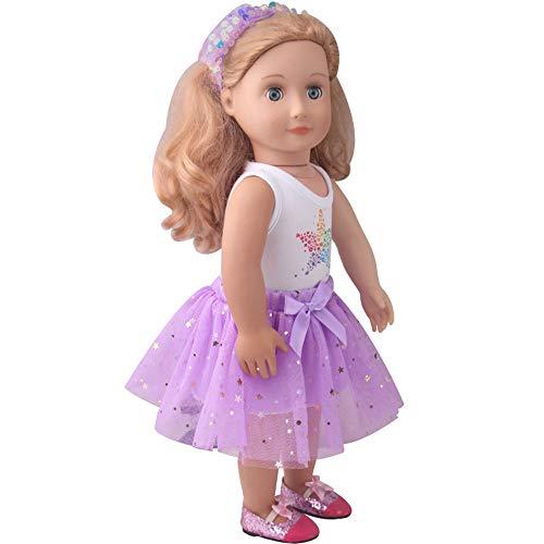 Jilibaba Puppenkleidung Outfits Rock Anzug mit Stern Pailletten Schleife Zubehör Kinder Spielzeug Geschenk für 46 cm American Girl Dolls D