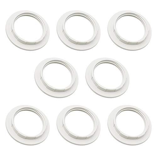 8 Stück Lampenschirm Reduzierring E27 Kunststoff Konverter Lampenring Lampenfassung Adapterring für Lampen-Schirm (Innendur 38mm) Weiß