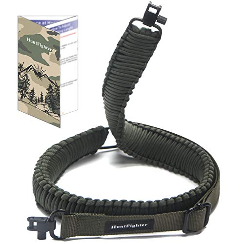 HuntFighter Rifle Sling with Swivels, 550 Paracord 2-Point Gun Sling with Quick Adjustable Length Strap for Outdoors Hunting (Green)