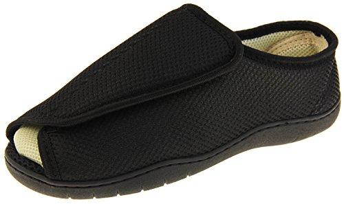 Footwear Studio De malla ajustable táctil de fijación ortopédica Zapatillas Uk 7-8 para Hombres 7/8 Reino Unido X-Wide Negro