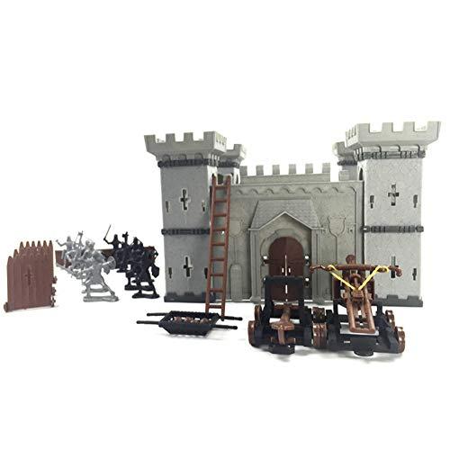 Bâtiment de château de bricolage moyen âge militaire en plastique modèle de modèle fort ensemble avec figurines soldat chevalier simulé siège guerre d'attaque pour cadeaux jeu jouet ensemble