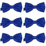 DonDon Set de 6 Pajarita para hombre de 12 x 6 cm ajustable y lista para usar Azul