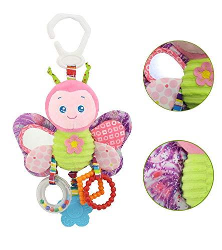 Baby Spielzeug, Hochwertiges Kleinkindspielzeug Plüschrassel mit Ringen zum Beißen, Greifen und Knistern, Spiegel für Babys Kleinkinder - ab 0 -24 Monat (Schmetter)