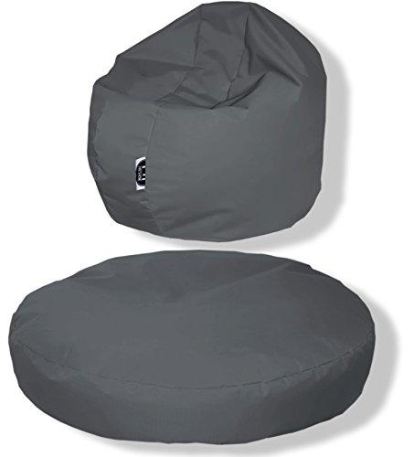 Patchhome zitkussen, rond, 2-in-1, voor binnen en buiten, 145 x 20 cm, in 25 verschillende Kleuren: 145x20cm antraciet