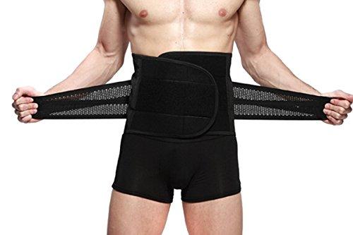 TININNA Herren Taillenmieder Taillenformer Bauchgürtel Bauchweggürtel Fitnessgürtel Bauchstütze Binder Waist Trimmer Belt Waist Shaper Belt L schwarz EINWEG Verpackung