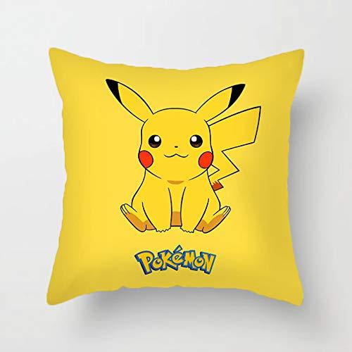 ADFSHISA Funda de cojín de Pokémon de felpa corta de dibujos animados decorativos para sala de estar, sofá, sofá, almohada, decoración del hogar, suministros de fiesta