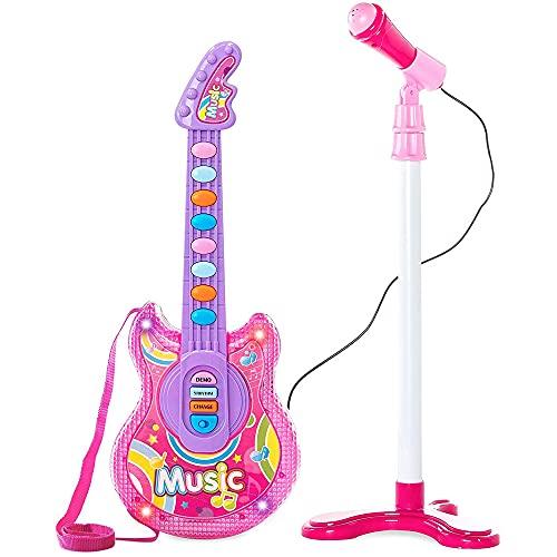 BAKAJI Chitarra Elettrica + Microfono Karaoke Giocattolo Bambini con 8 Pulsanti Note 12 Canzoni Demo Effeti Luce Altezza Microfono Regolabile con Attacco Aux Mp3 Smartphone Tablet (Rosa)