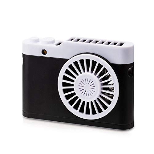WDFDZSW Mini portátil de Carga USB del Ventilador de la cámara Colgando del Cuello pequeño Ventilador con función de Linterna Pequeño Ventilador de Escritorio del Ventilador (Color : Black)