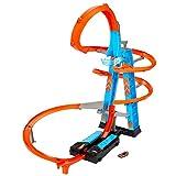 Hot Wheels GWT39 - Himmelscrash-Turm, 60cm hoch mit batteriebetriebenem Beschleuniger und orangem Track mit Looping, Geschenk für Kinder von 5 bis 10 Jahren, Abweichungen in Verpackung vorbehalten