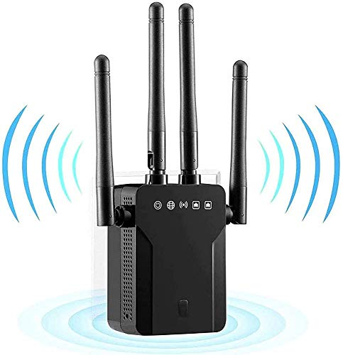 Repetidor WiFi 1200Mbps Amplificador Señal WiFi Banda Dual 2.4GHz y 5GHz Extensor de Red WiFi Enrutador Inalámbrico Punto Acceso (3 Modos, 4 Antenas, Puerto LAN/WAN) ,Cubra la señal hasta 200m²