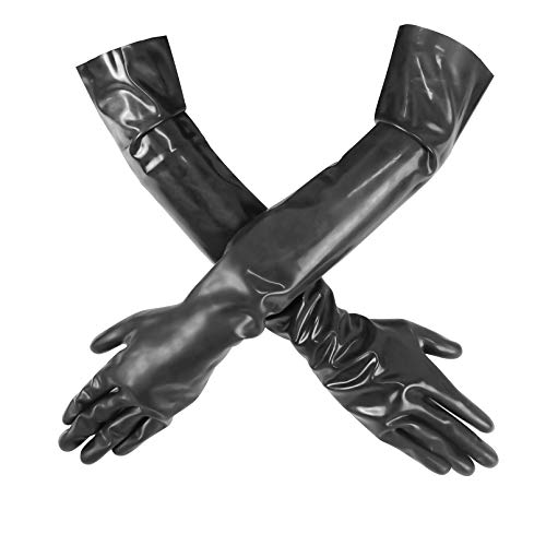 Luwint Latex Long Gloves, Stretchy Women Black Over Elbow Length Gloves, XS/S Girls