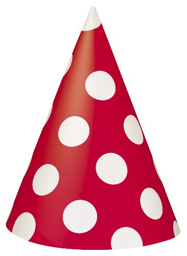 Red Polka Dot Party Hats, 8ct