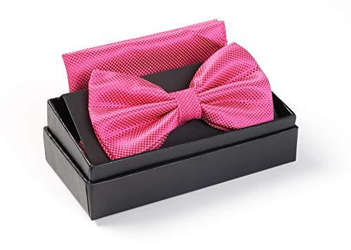 Massi Morino ® Herrenfliegen Set mit Tuch in Rosa Männer Anzug Schleife Krawattenfliege rose rosafarben hellrosa rosafliege rosafarbenefliege pink fuchsig rosenrot rosig