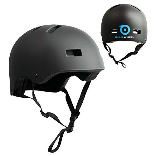 Bluewheel Helm H30 für Hoverboard, Inline-Skate, BMX Fahrrad; 3 schichtiger Aufbau für mehr Sicherheit, Belüftungssystem, passgenau in matt schwarz - für Kinder & Erwachsene (S)
