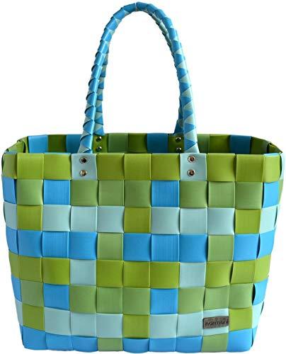 normani® Einkaufstasche Shopper geflochten aus Kunststoff - robuster Strandkorb Vintage Style 38cm x 25cm x 28cm Farbe Classic/Spring