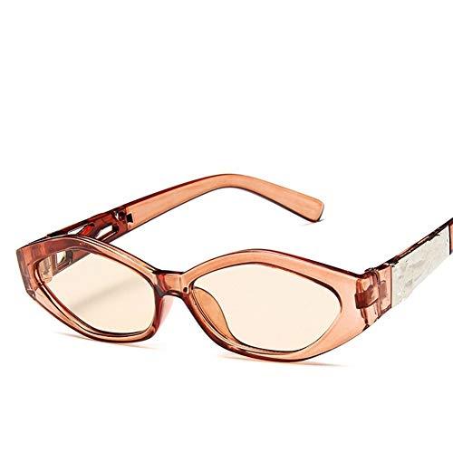 SLAKF Gafas duraderas Conductor Gafas Nuevas Gafas de Sol Moda for Mujer Gafas de Sol de Estructura pequeña Ojo de Gato Enfriar Blanca del Marco de Leopardo 3D Negro Amarillo Azul Lente (Color : C)