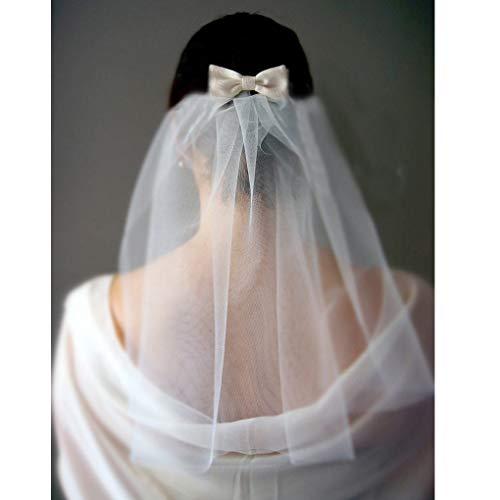 Fairvir Bruiloft Bruids Witte Sluier 1 Tier Lint Rand Bruid Sluiers met Kam Schouder Lengte Bruiloft Haaraccessoires voor Vrouwen en Meisjes Eén maat Ivroy (stad)