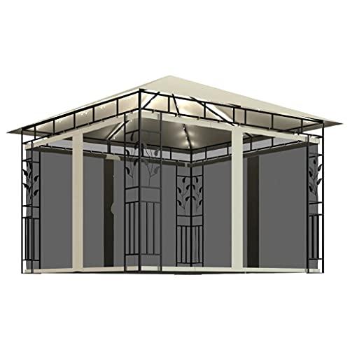Gazebo, jardín Gazebo Carpa Carpa para Fiestas Toldo de Playa al Aire Libre Refugio instantáneo Comercial Gazebo con mosquitera y guirnaldas de Luces 3x3x2.73 m Crema 180 g / m²