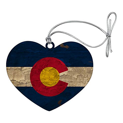 GRAPHICS & MORE Rustic Distressed Colorado State Flag Heart Love Wood Christmas Tree Holiday Ornament