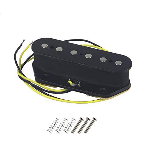 FLEOR Pastillas de bobina simple negras Pastilla de puente de guitarra Imán de cerámica 6-7k para piezas de puente de guitarra eléctrica Fender Telecaster
