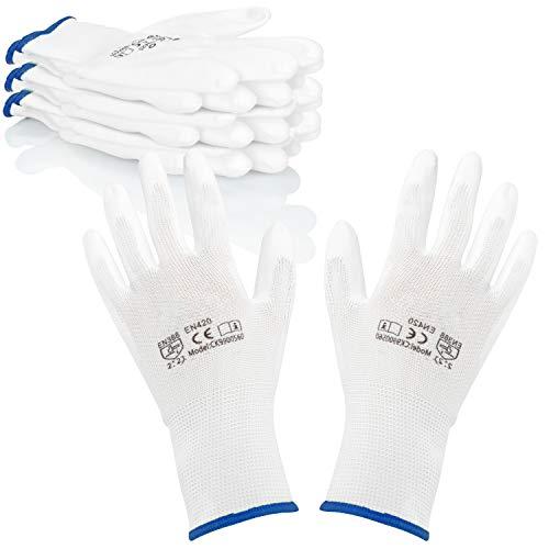com-four® 4X Paar Schutzhandschuhe für Arbeit und Garten - Weiße Arbeitshandschuhe Gr. L - Handschuhe nach DIN EN 338 für Maler, Mechaniker, Monteure und Heimwerker