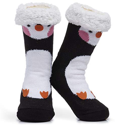 Calcetines para mujer y niña, de alta calidad, suaves, para el hogar, tallas 4 a 8, diseño de búhos y gatos, calcetines mullidos y peludos, regalo bonito y antideslizante pingüino Talla única
