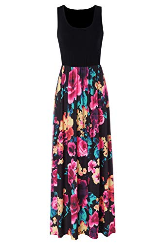 Zattcas Black Maxi Dresses for Women Sleeveless Tank Top Floral Maxi Dress,Black1,XX-Large