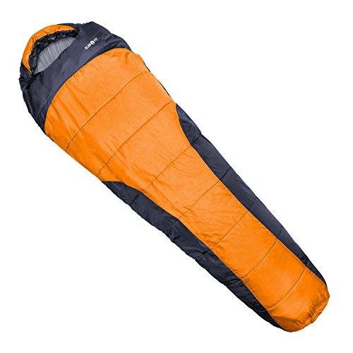 Klarfit Gullfoss sacco a pelo con innovativa imbottitura fibra H4 (sacco a pelo a mummia adatto per tutte le stagioni, temperatura comfort 0°C, limite -5°C, 230x80x55cm, 1,5 kg) - arancione