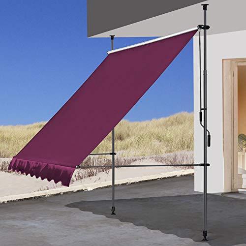 QUICK STAR Klemmmarkise 250x130cm Bordeaux Balkonmarkise Sonnenschutz Terrassenüberdachung Höhenverstellbar von 200-290cm Markise Balkon ohne Bohren