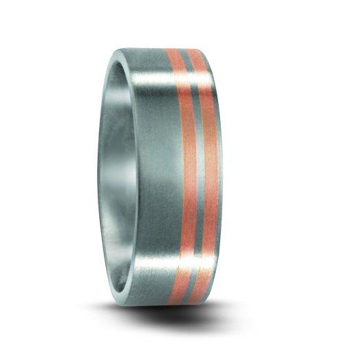Partnerring Edelstahl, 750/18 K Rotgold, Marke: TeNo, Ringbreite: 6.5 mm Grösse 70