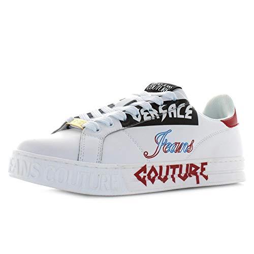 VERSACE JEANS COUTURE Zapatillas de hombre blancas con logotipo de contraste.