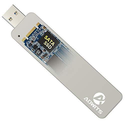 ADWITS USB 3.0 UASP a SATA NGFF M.2 2230/2242/2260/2280 Key B o B & M SSD SuperSpeed Adattatore, custodia esterna senza fili per DREVO Crucial Transcend e altro, Argento