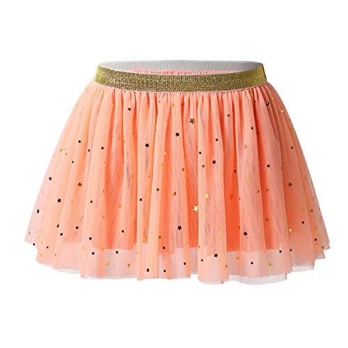 FEESHOW Jupe Danse Filles 12 Mois - 5 Ans Déguisement de Pom-Pom Girl Uniforme écoliere Tutu Ballet Jupe plissé de Sport Orange 3-4 Ans