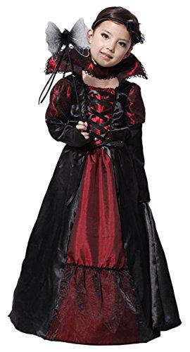 AOYOO Mädchen Karneval Lady Vampirin Vampir Prinzessin Vampirkleid Dracula Halloween (Kinderkörper in 110-120cm)