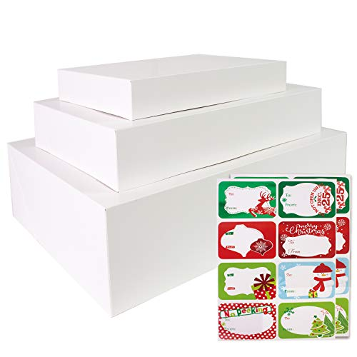 12 White Gift Wrap Boxes with Lids for wrapping Large Clothes and 80 Count Foil Christmas Tag Stickers (Assorted size for wrapping Robes,Sweater, Coat Shirts and Clothes xmas Holiday Present)