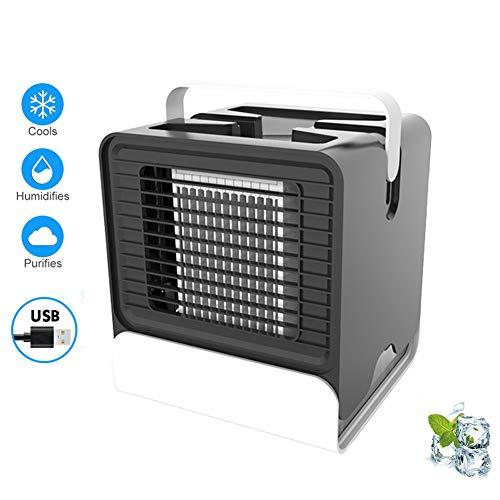 POOPFIY Enfriador de Aire Personal, Aire Acondicionado de Iones Negativos, refrigeración ártica por USB La Forma fácil y rápida Enfriador de Ventilador de Espacio Personal para Oficina en casa,Negro