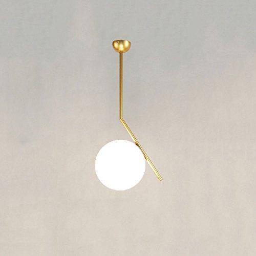 Hines Contemporain Incroyable Boule De Verre Blanc Décoratif Tête Unique Suspension Nordic Creative Salon Chambre Chevet Pendant Lamp Postmoderne Simple Restaurant Lustres Lanternes (Taille : Large)