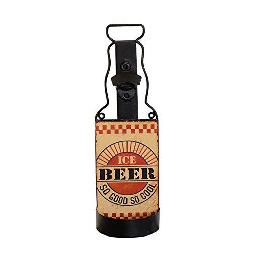 JCNFA drijvende rekken retro houten bierrek van smeedijzeren flesopener ruimtedecoratie decoratieve wandkleding, 2 stijlen D 5.03 * 2.75 * 15.94in
