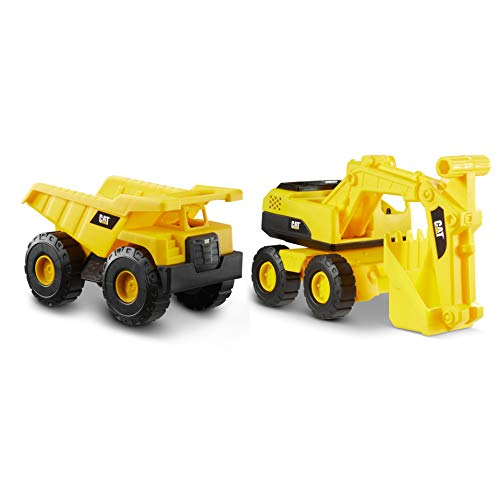 Cat Construction Tough Rigs 15' Dump Truck & Excavator Toys 2 Pack, Yellow (82366)