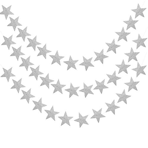 Pinsheng Glitter Star Paper Garland,Glitter Reflective Twinkle Star Hanging Docorations, 52 Feet Paper Garland Banner Hanging Decoration Suitable for Wedding, Birthday, Christmas and Party (Silver)