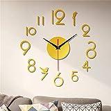 SHUBIHU Reloj de pared sin marco, diseño de espejo 3D, diseño moderno, no hace tictac, decoración del hogar, oficina, hotel, color dorado
