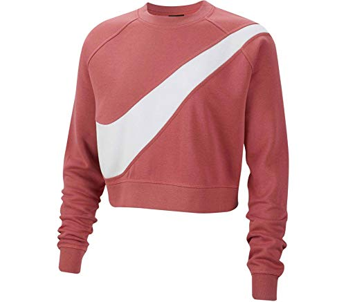 Nike Sportwear Swoosh FLC BB Felpa Donna Rosa M (Medium)